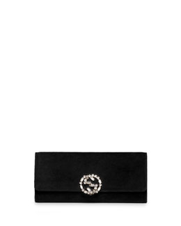Gucci Broadway Suede GG Buckle Clutch Bag, Black