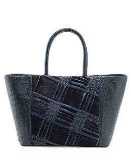 Nancy Gonzalez Small Woven Crocodile & Calf Hair Tote Bag, Navy