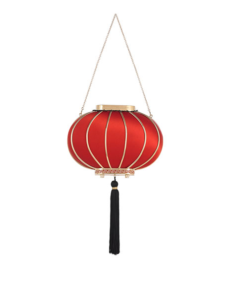 Lantern Satin Minaudiere, Red
