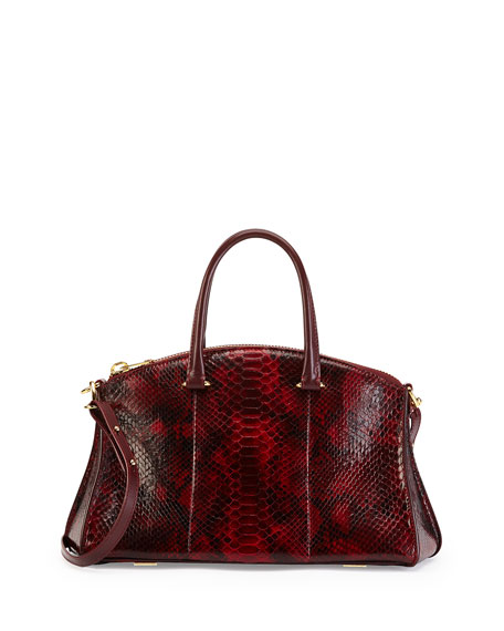 Trevi Demi Python Satchel Bag, Cranberry