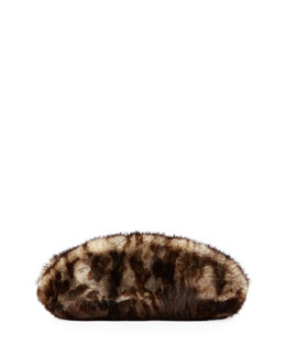 VBH Mink Fur Oval Compact Clutch Bag, Leopard