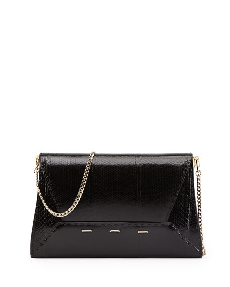 Manila 30 Snakeskin Shift Clutch Bag, Black
