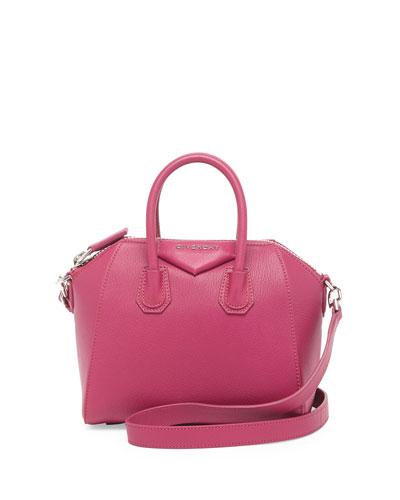 Antigona Mini Leather Satchel Bag, Magenta