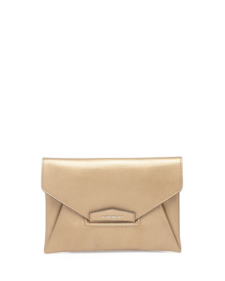 Antigona Evening Envelope Medium Leather Clutch, Golden