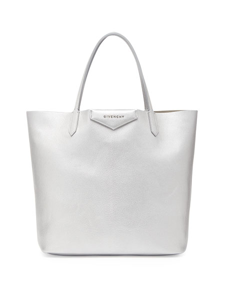 a7b64ac9d Givenchy Antigona Medium Leather Shopping Tote, Silver