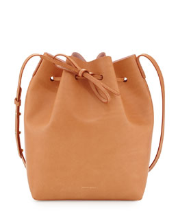 Mansur Gavriel Coated Leather Bucket Bag, Camel/Pink