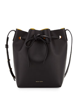 Mansur Gavriel Mini Coated Leather Bucket Bag, Black/Sun