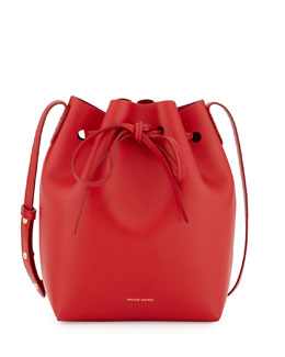 Mansur Gavriel Mini Coated Leather Bucket Bag, Flame