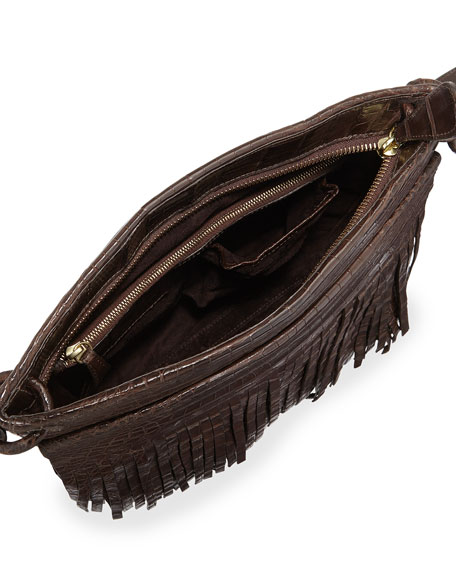 Crocodile Fringe Crossbody Bag, Brown