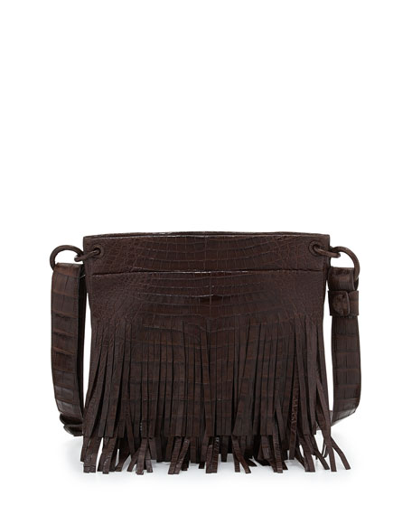 Crocodile Fringe Crossbody Bag, Brown