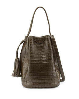 Nancy Gonzalez Medium Crocodile Tassel Bucket Bag, Army Green