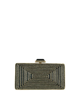 Crystal Rectangle Clutch Bag, Palladium Multi