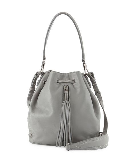 Cynnie Mini Tassel Bucket Bag, Ferro