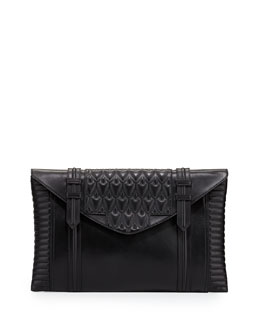 Reece Hudson Bowery Oversized Leather Clutch Bag, Black
