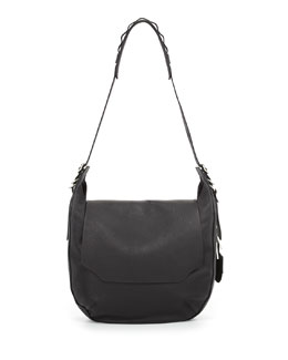 Rag & Bone Bradbury Leather Flap Hobo Bag, Black