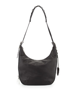 Rag & Bone Bradbury Leather Zip Hobo Bag, Black