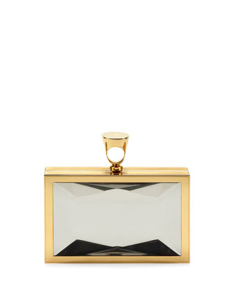 TOM FORD Faceted Brass Ring Clutch Bag in Clear