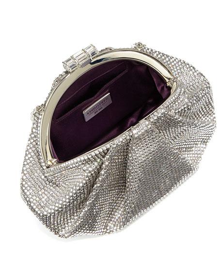 Enchanted Allover Beaded Pochette, Silver/Silver Shade