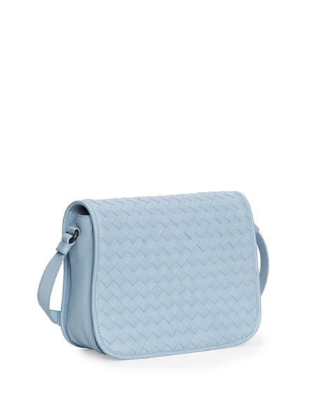 Small Woven Flap Crossbody Bag, Light Blue