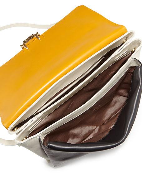 Calfskin Top-Handle Shoulder Bag, Black