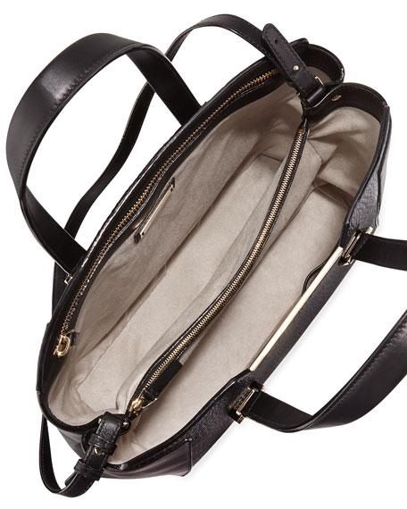Alfie Large Leather Tote Bag, Black