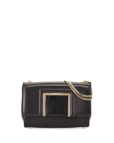 Alba Leather & Snakeskin Shoulder Bag, Black