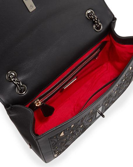 Sweet Charity Calfskin Shoulder Bag, Black/Nude