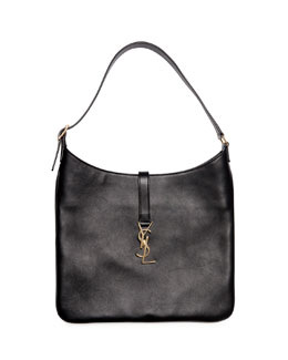 Monogram Medium Leather Flat Hobo Bag, Black