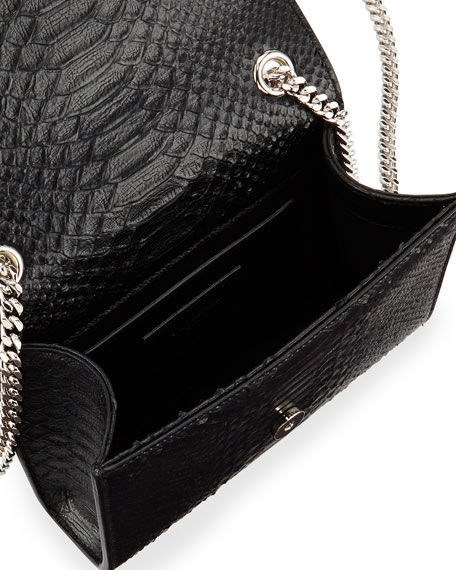 Monogram Small Python-Stamped Crossbody Bag, Black