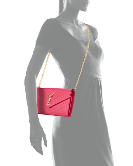 Monogram Matelasse Shoulder Bag, Fuchsia