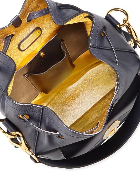 Ricky Napa Calfskin Bucket Bag, Blue