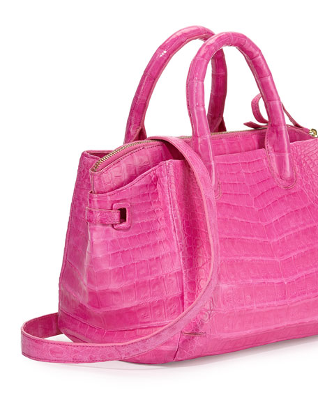 Cristina Small Crocodile Tote Bag, Pink Matte