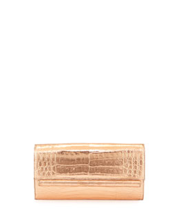 Metallic Crocodile Clutch Bag, Rose Gold
