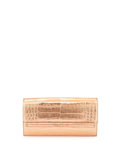 Metallic Crocodile Clutch Bag, Rose Gold