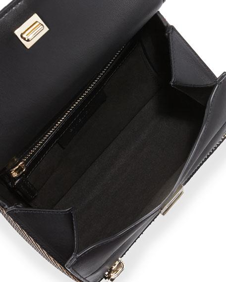 Pandora Metallic Woven Faux-Leather Mini Satchel, Gold