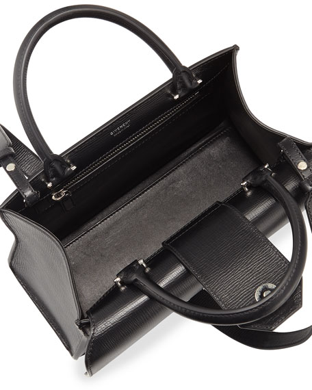 Obsedia Top Handle Small Leather Satchel Bag, Black