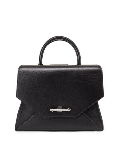 Obsedia Top Handle Small Leather Satchel Bag, Black
