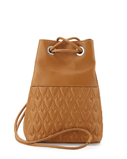 Bowery Small Leather Bucket Bag, Camel