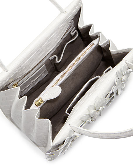 Crocodile Flower Small Top Handle Bag, White