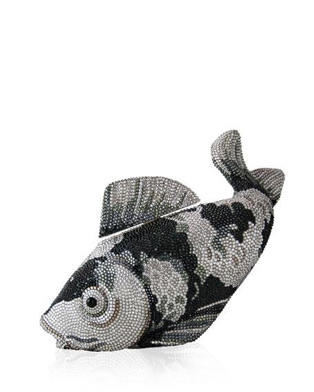 Koi Fish Crystal Minaudiere, Black/Silver