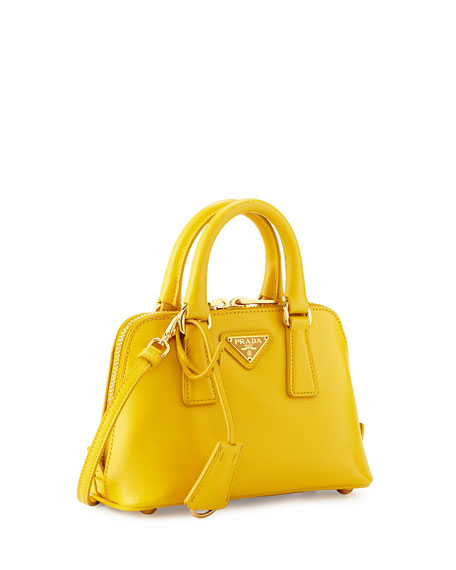 49c0b6524e6 Prada Mini Saffiano Promenade Bag, Yellow (Soleil)