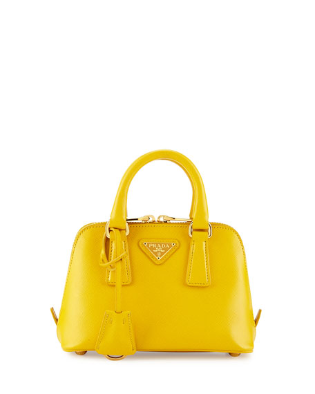 703ca19b4457 Prada Mini Saffiano Promenade Bag, Yellow (Soleil)