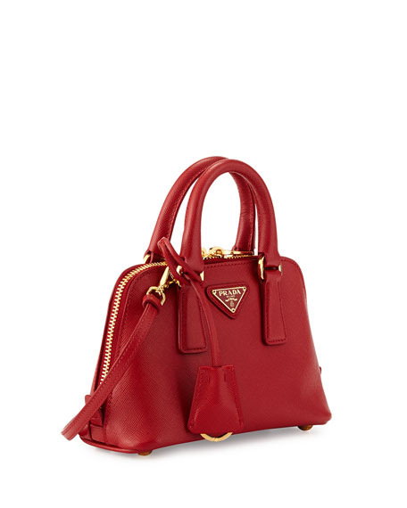 Mini Saffiano Promenade Bag, Red (Fuoco)