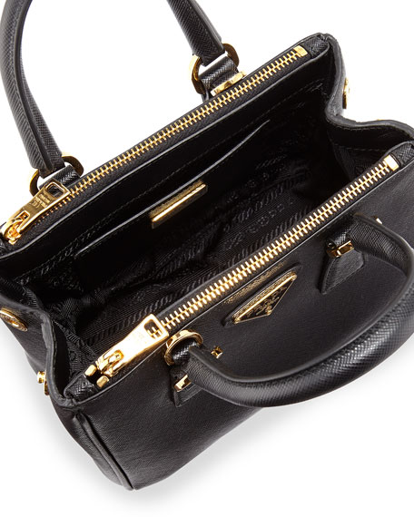 Prada Saffiano Mini Galleria Crossbody Bag, Black (Nero)