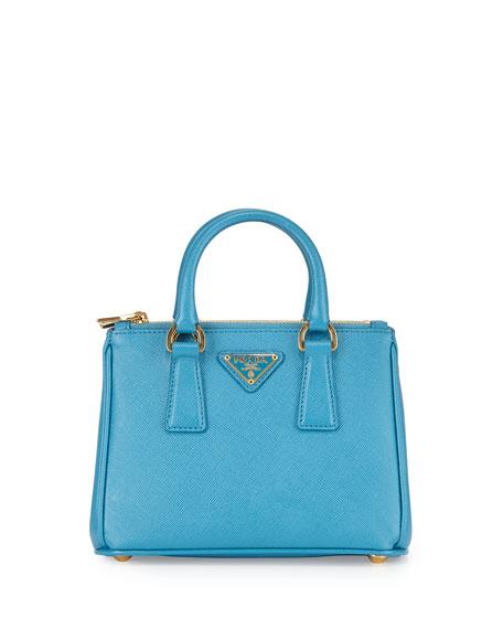 9756e20c7f7e Prada Saffiano Mini Galleria Crossbody Bag, Blue (Celeste)