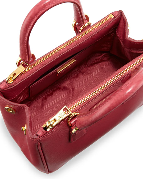 Prada Saffiano Mini Galleria Crossbody Bag, Pink (Peonia)