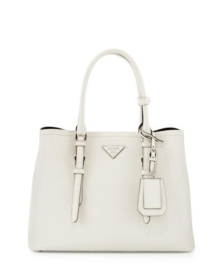 Prada Saffiano Cuir Covered-Strap Double Bag, White (Talco)
