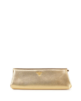 Saffiano East-West Clutch Bag, Gold (Platino)