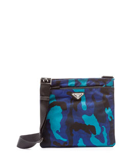 Tessuto Camo-Print Crossbody Bag, Royal Blue (Royal)