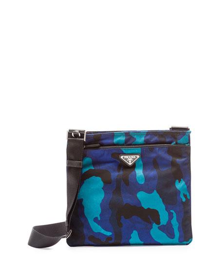 Prada Tessuto Camo-Print Crossbody Bag, Royal Blue (Royal)